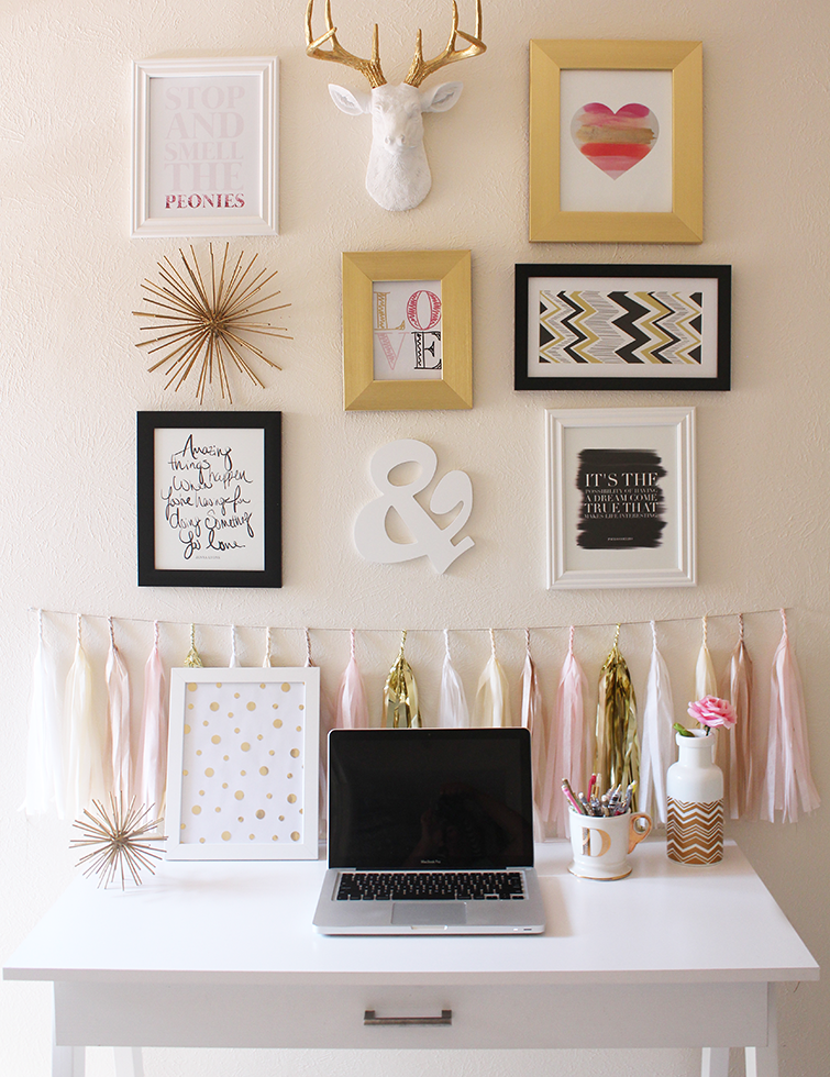 Bedroom Wall Decoration Ideas: DIY Gold Confetti Polka Dot Print