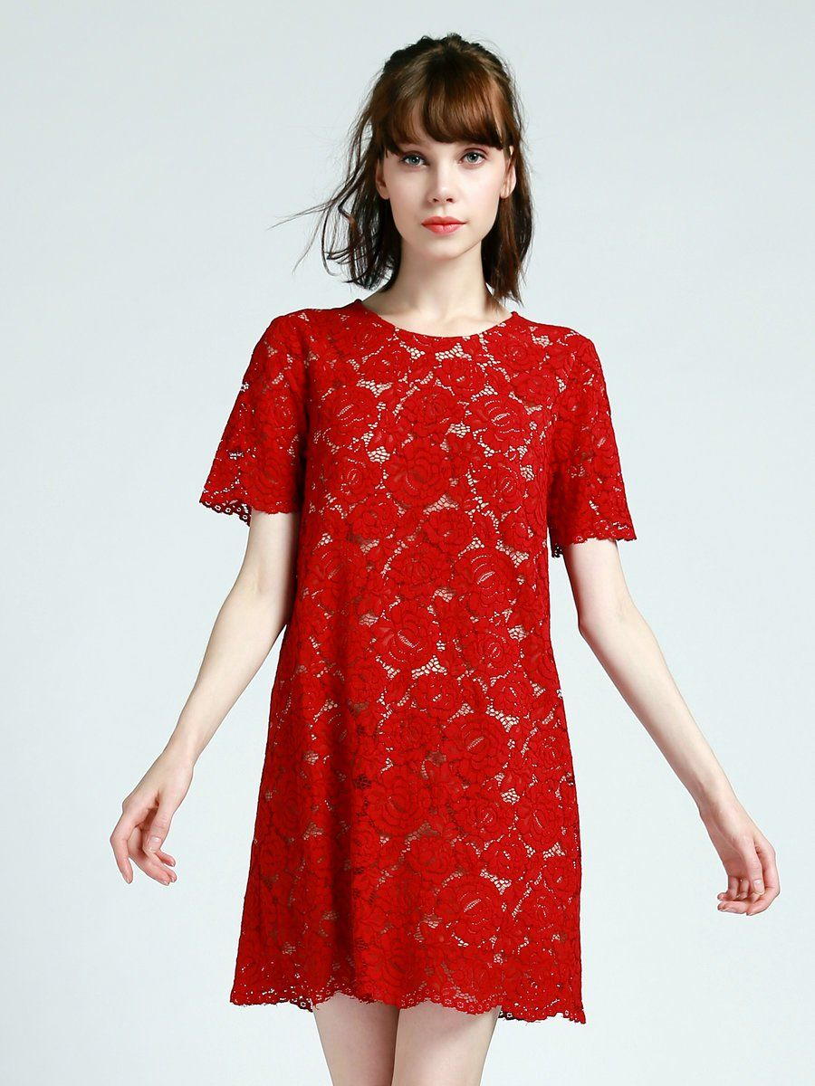 Adorewe stylewe mini dressesdesigner misslook red short sleeve