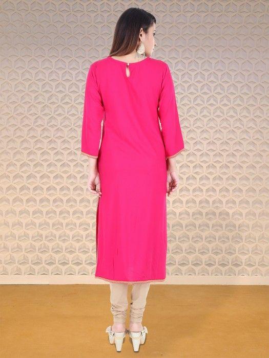 Shop G3 Exclusive magenta festive wear cotton kurti online from ...