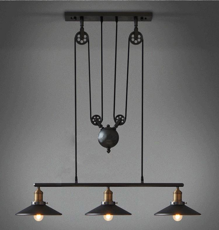 Loft Vintage Retro Iron Black Chandelier Industrial pulley