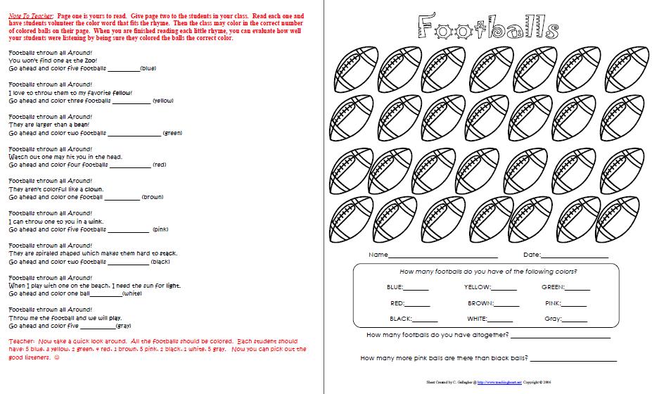 Superbowl Activity Packet, Math and Language, FOOTBALL | 1st Grade ...