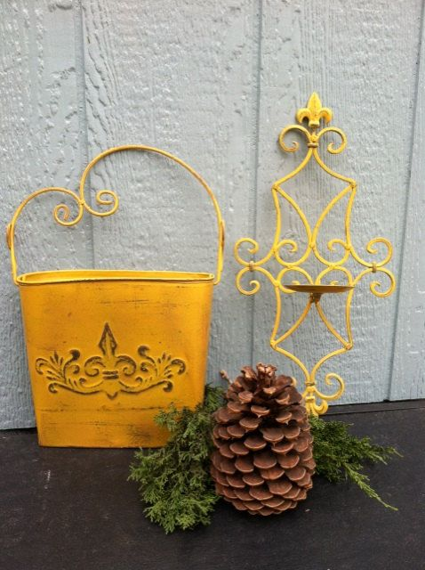 Upcycled  FLEUR De Lis  Metal Wall Pocket  Candle by TimelessNchic, $27.95