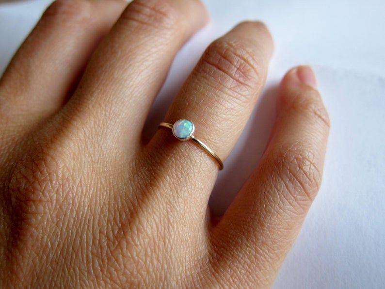 14k solid gold opal ring gemstone band birthstone ring tiny | Etsy