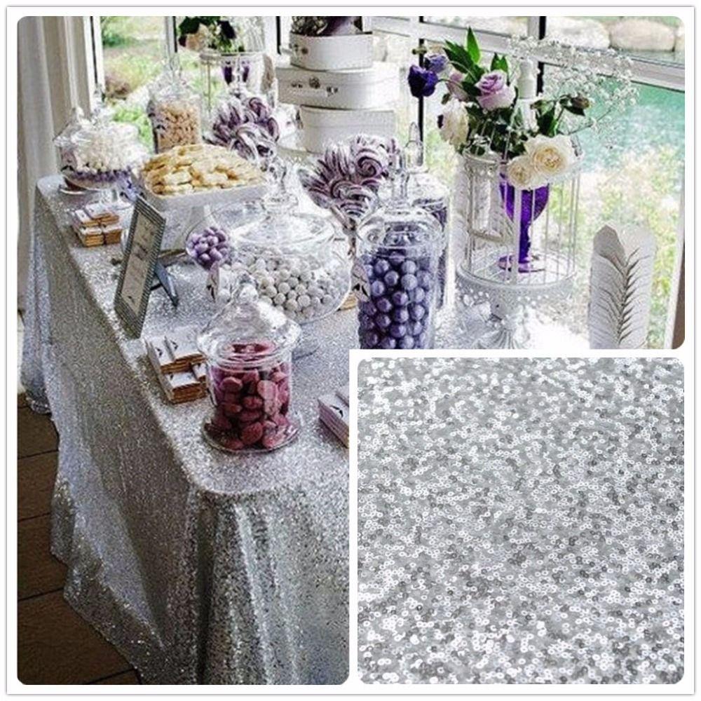90inx156in Silver Sequin Tablecloth, Silver wedding Tablecloth ...