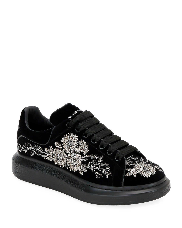 Embellished Velvet Oversized Sneakers