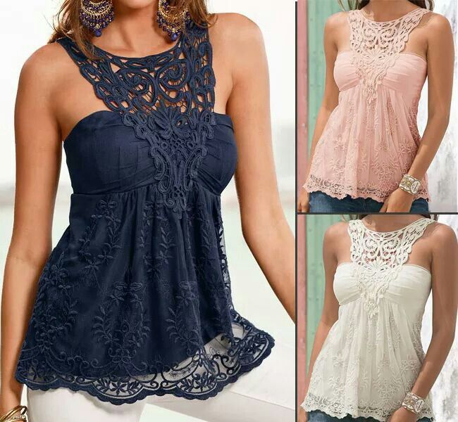 Lace splicing tank top