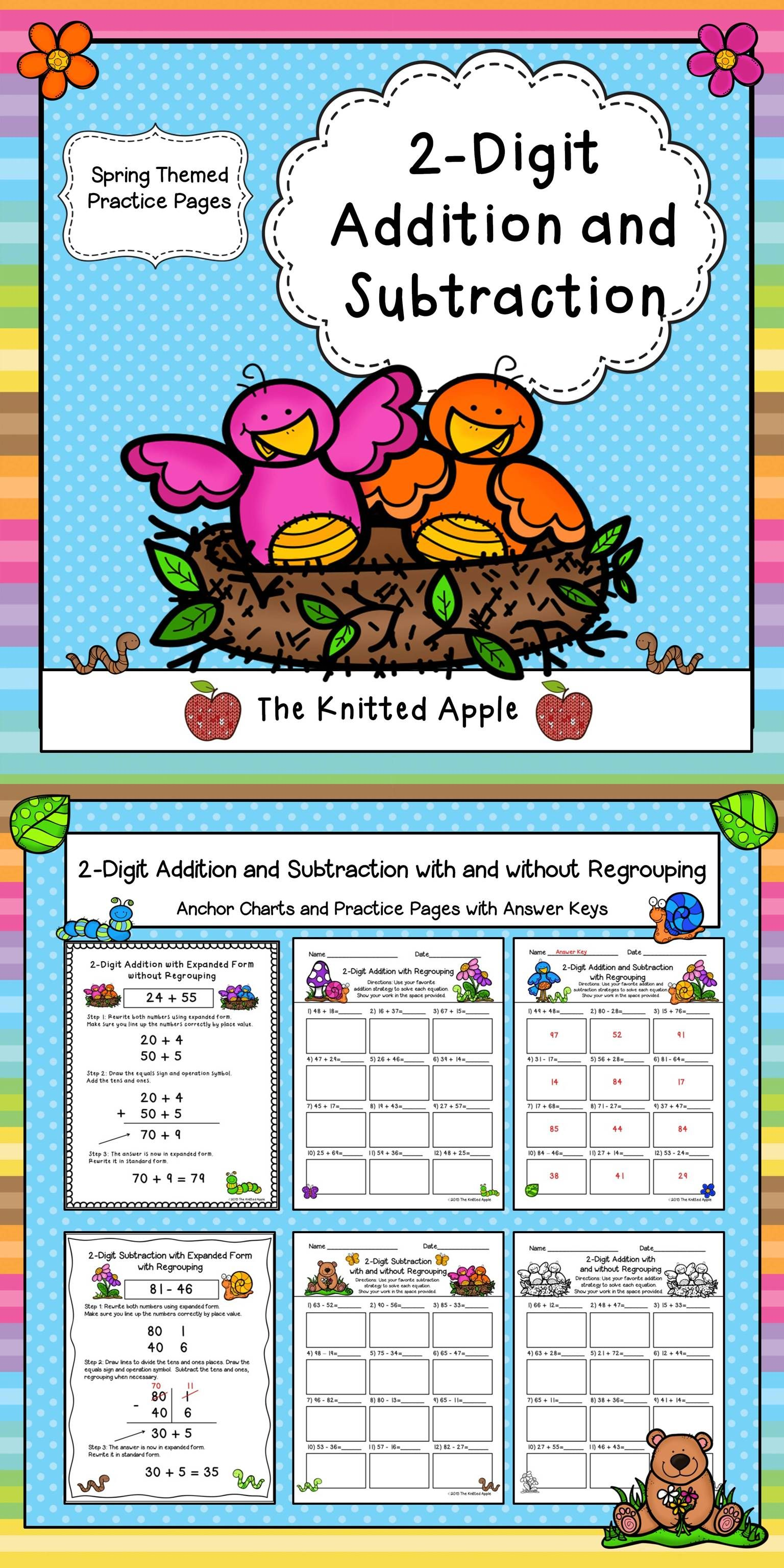 2 Digit Addition And Subtraction With And Without Regrouping Spring Theme