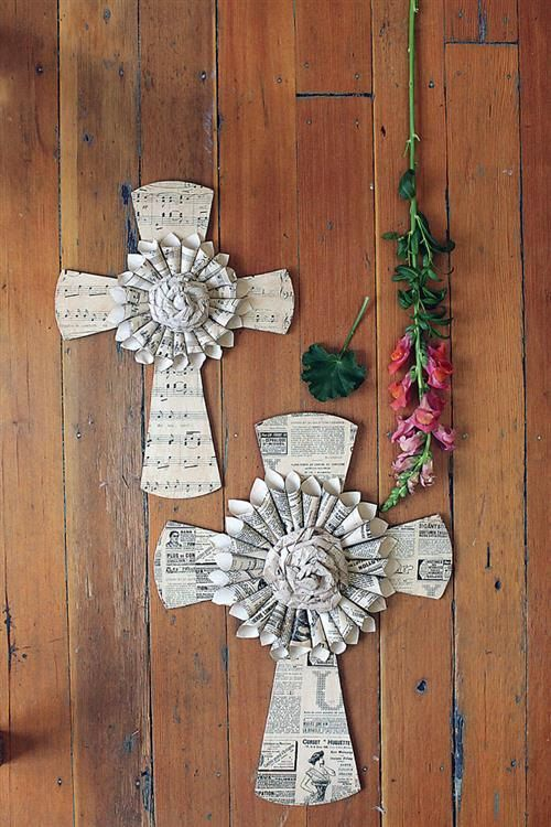 Hand made Paper Cross with Newspaper and by InteriorMotivesDecor, $32.00