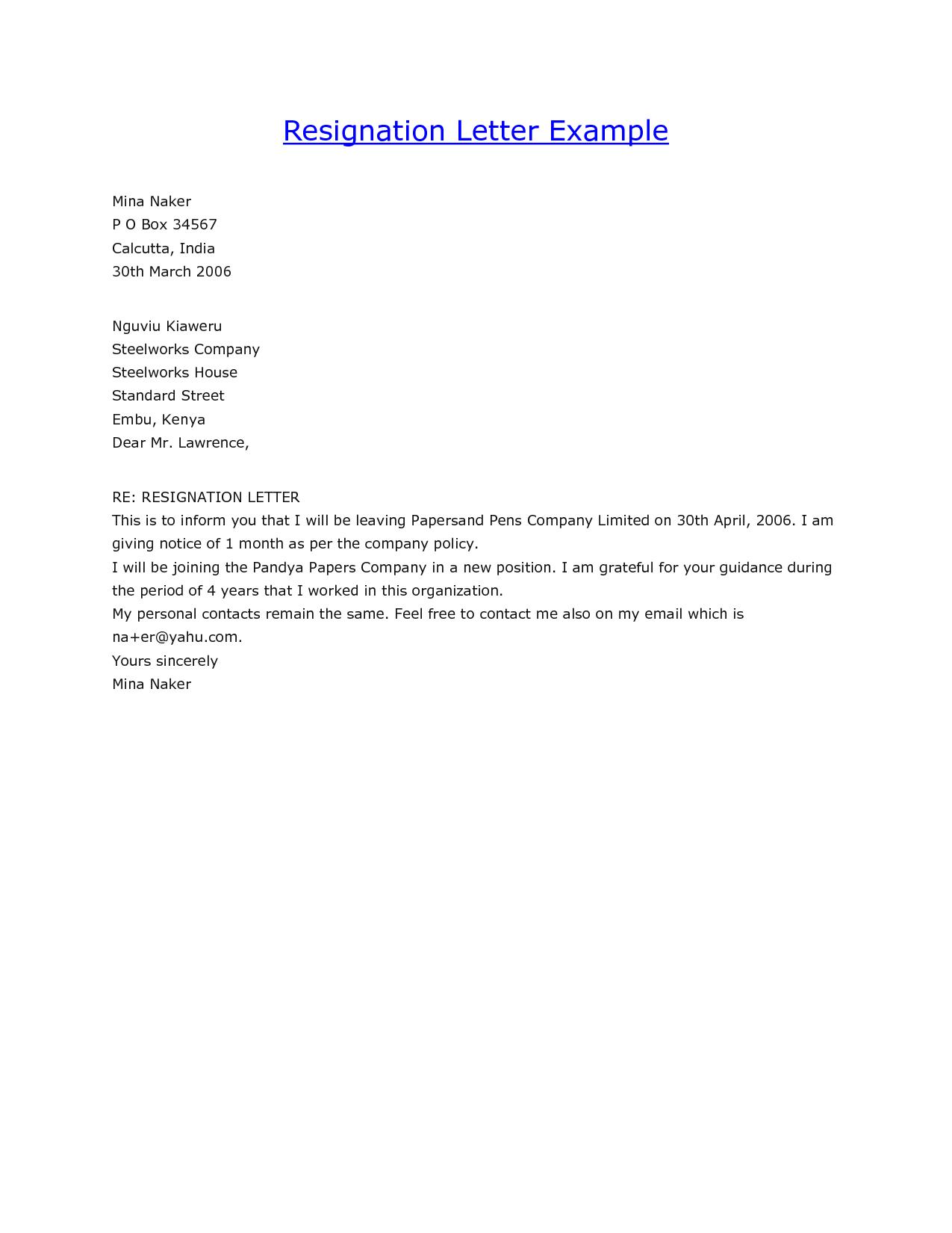 Stunning Resignation Letter Sample Format Example Ideas Office