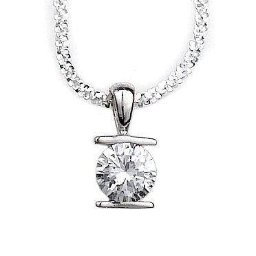 Bar Set Cubic Zirconia and Sterling Silver Slide (#S005012)