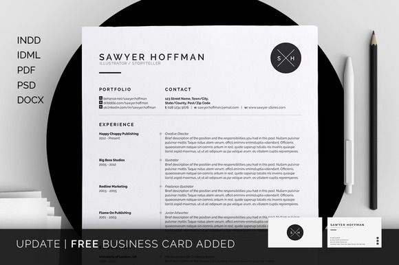 Resume\/CV - Cover Letter - Template - FREE Business Card - Sawyer - indesign resume templates