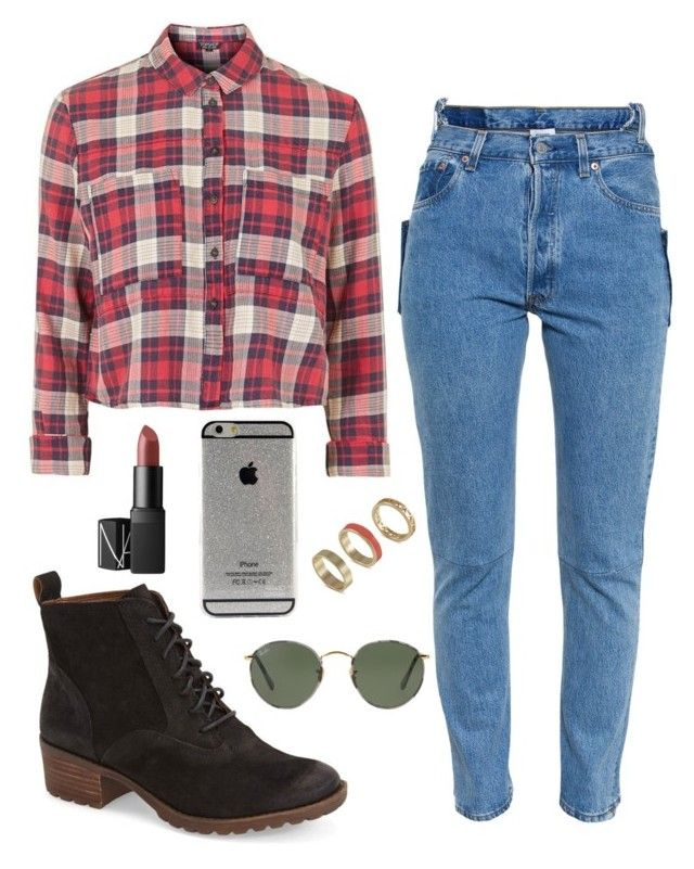 """""""Fall"""" by maddygrabowski on Polyvore featuring Lucky Brand, Topshop, Vetements, Ray-Ban, NARS Cosmetics and French Connection"""