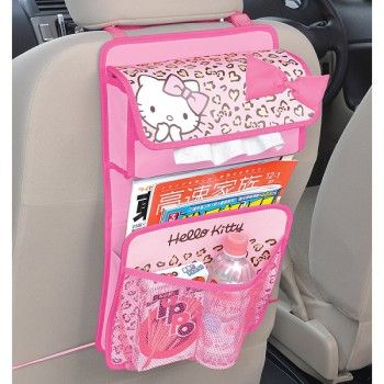 Hello Kitty Auto Rear Pocket That Clings to Headrest Back Seat Pink Leopard