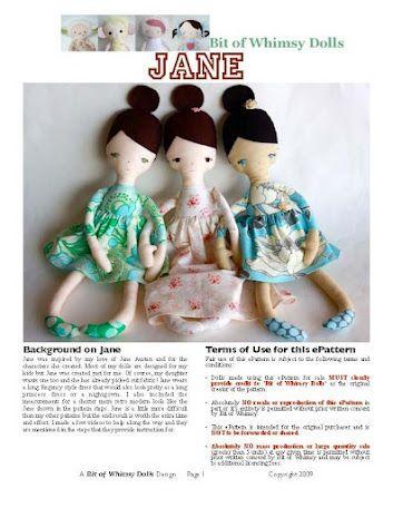 Jane Doll. Free pattern. some day i'm gonna make it!