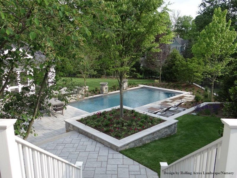 pebble sheen blue granite chevy chase maryland water bowl water features - Rectangle Pool With Water Feature