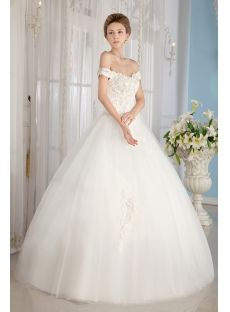 Ivory Off Shoulder Cinderella Ball Gown Wedding Dresses