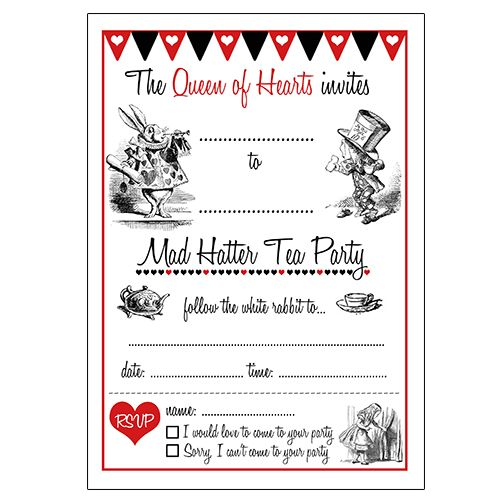Alice in Wonderland Invitations Blank Template Mad Hatter - invitation blank template