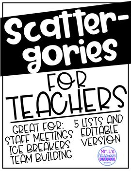 Scattergories for Teachers! Staff Ice Breaker Activity