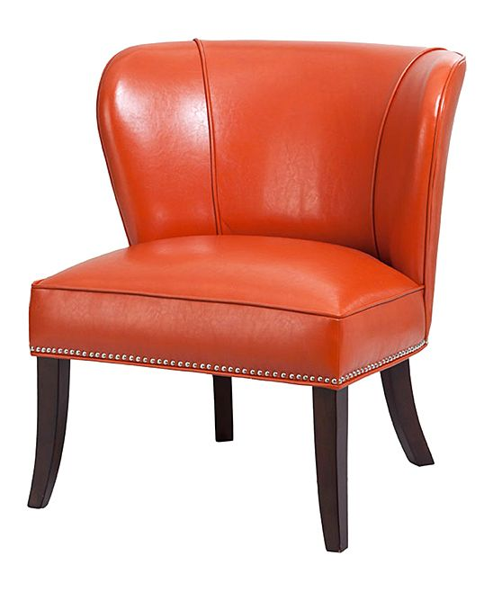 Espresso Burnt Orange Armless Chair Leather Accent Chair