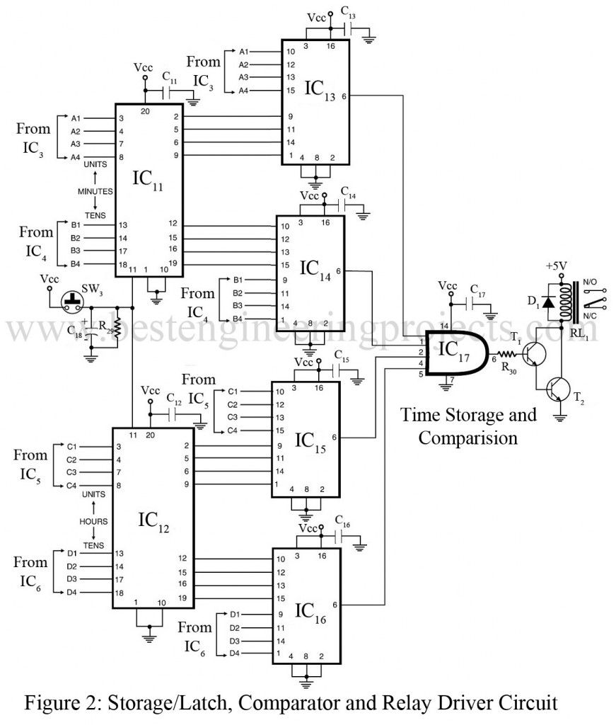 schematic diagram of storage latch comparator and relay driver circuit [ 871 x 1024 Pixel ]