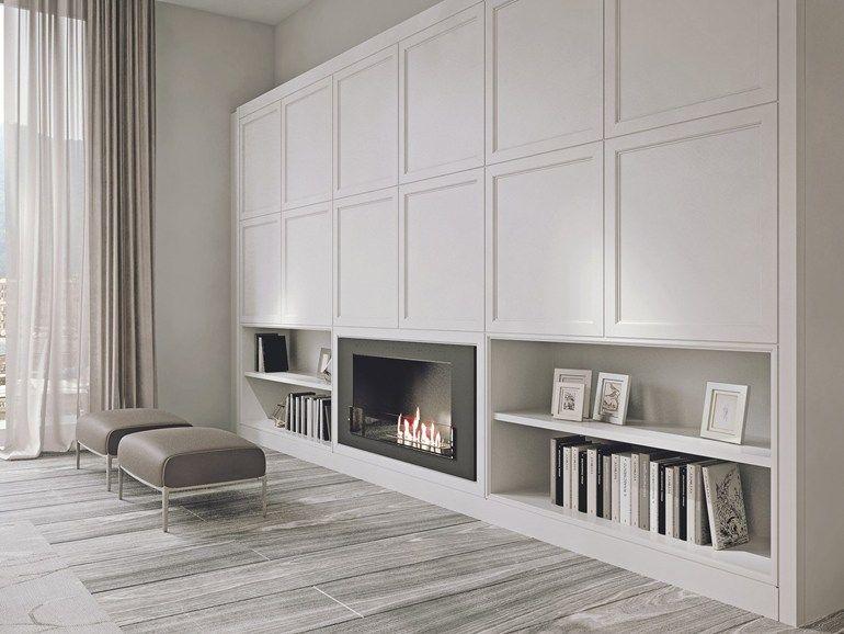 Mueble modular de pared de madera con soporte para tv AETERNA