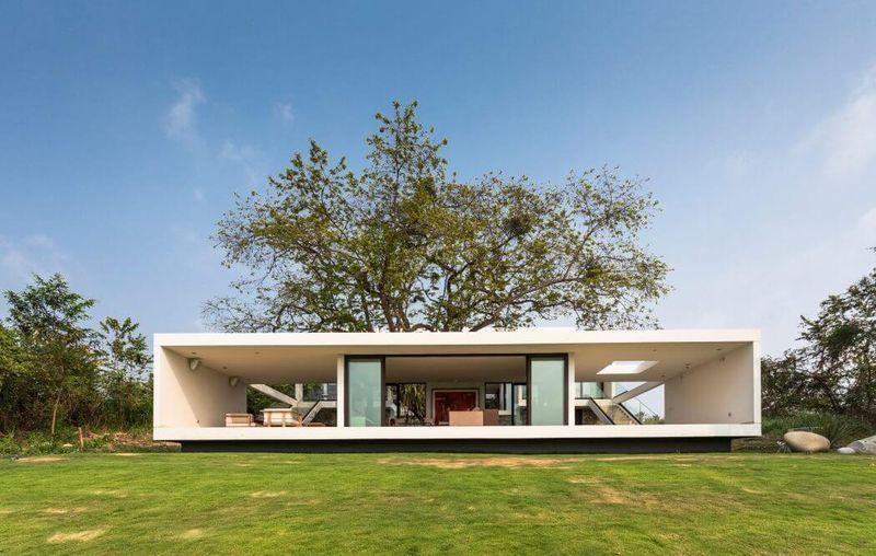 Maison de conception bioclimatique avec système domotique au Mexique