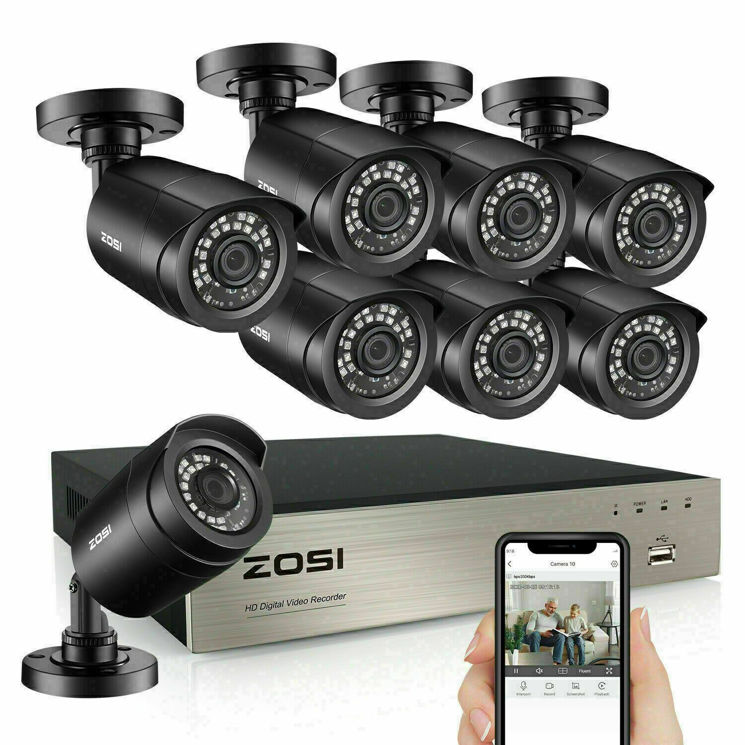 Zosi 8ch 5mp Lite Dvr 1080p Outdoor Cctv Security Camera System Kit Night Vision Ebay Security Cameras For Home Cctv Security Cameras Security Camera System