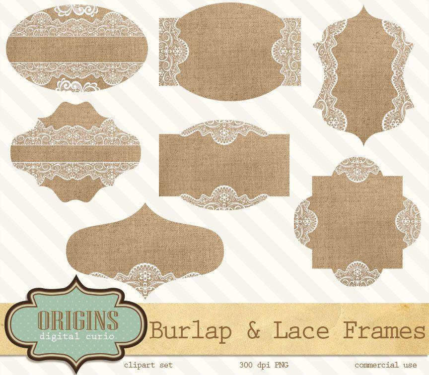 Burlap And Lace Labels Frames Tags Digital Clipart Clip Art For Weddings Scrapbo Etiquetas Para Imprimir Gratis Etiquetas Para Imprimir Tarjetas Con Flores