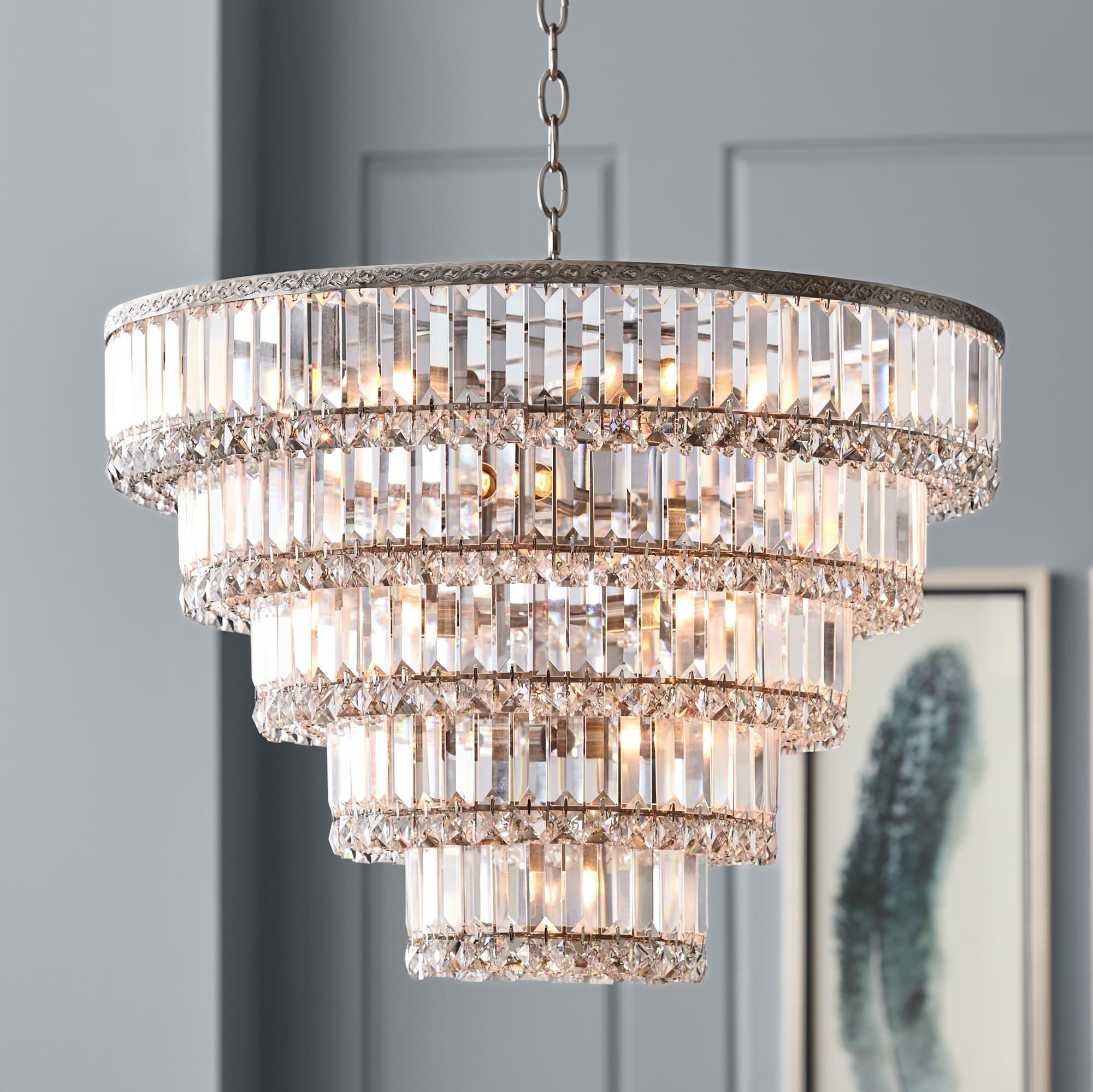 12 Light Round Clear Glass Fringe Crystal Prism Chandelier