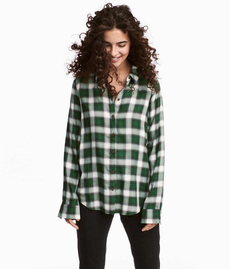 bien baratas compra especial brillante en brillo Camisa | Verde/Cuadros | MUJER | H&M MX en 2019 | Camisas ...