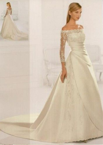 A Line Strapless Chapel Train Off The Shoulder Lace Sleeves Ivory Wedding Dress