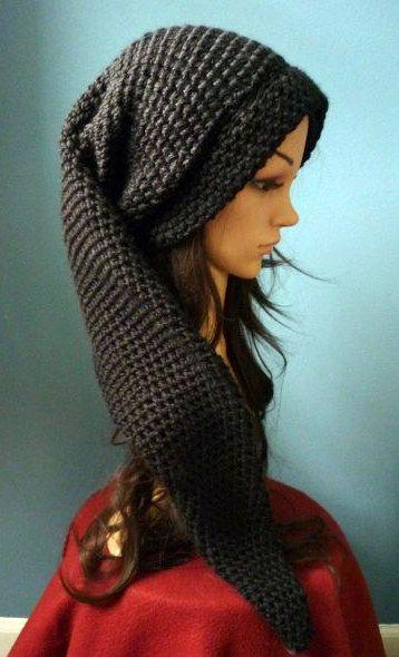 Long Crochet Black Link Beanie by AAMurray on DeviantArt   Crochet ...