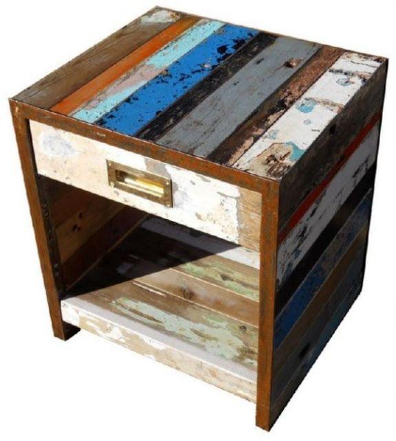 Artlantique - muebles hechos con barcos reciclados metal \ wood - muebles reciclados