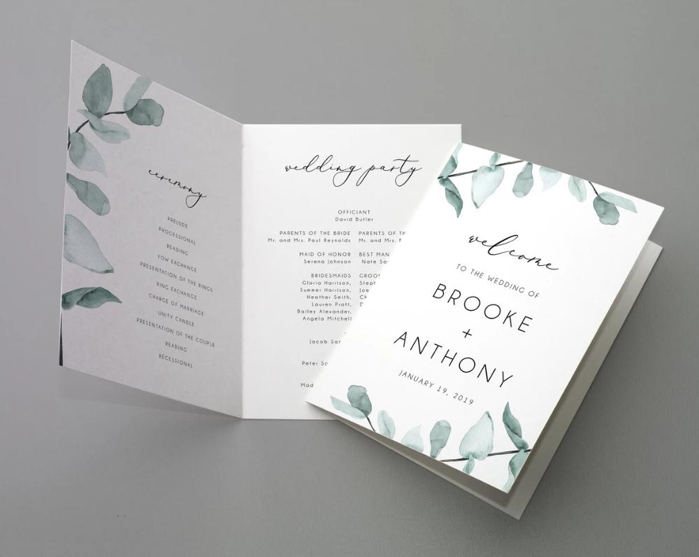 Bi-Fold Eucalyptus Wedding Program Template, Printable Folded