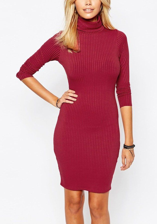 Office Style // Red Turtleneck Bodycon Dress | Lookbook Store ♦F&I♦