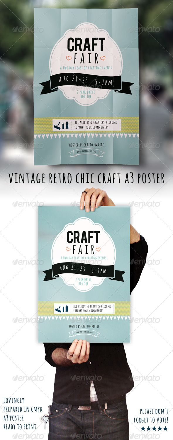 Vintage/Retro Craft Fair A3 Poster | Craft fairs, Fonts and Template