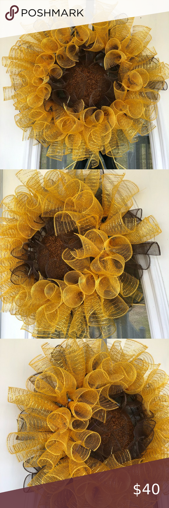 Photo of Sunflower wreath Deco mesh sunflower wreath. Measures about 24 in by 24 in. Most…