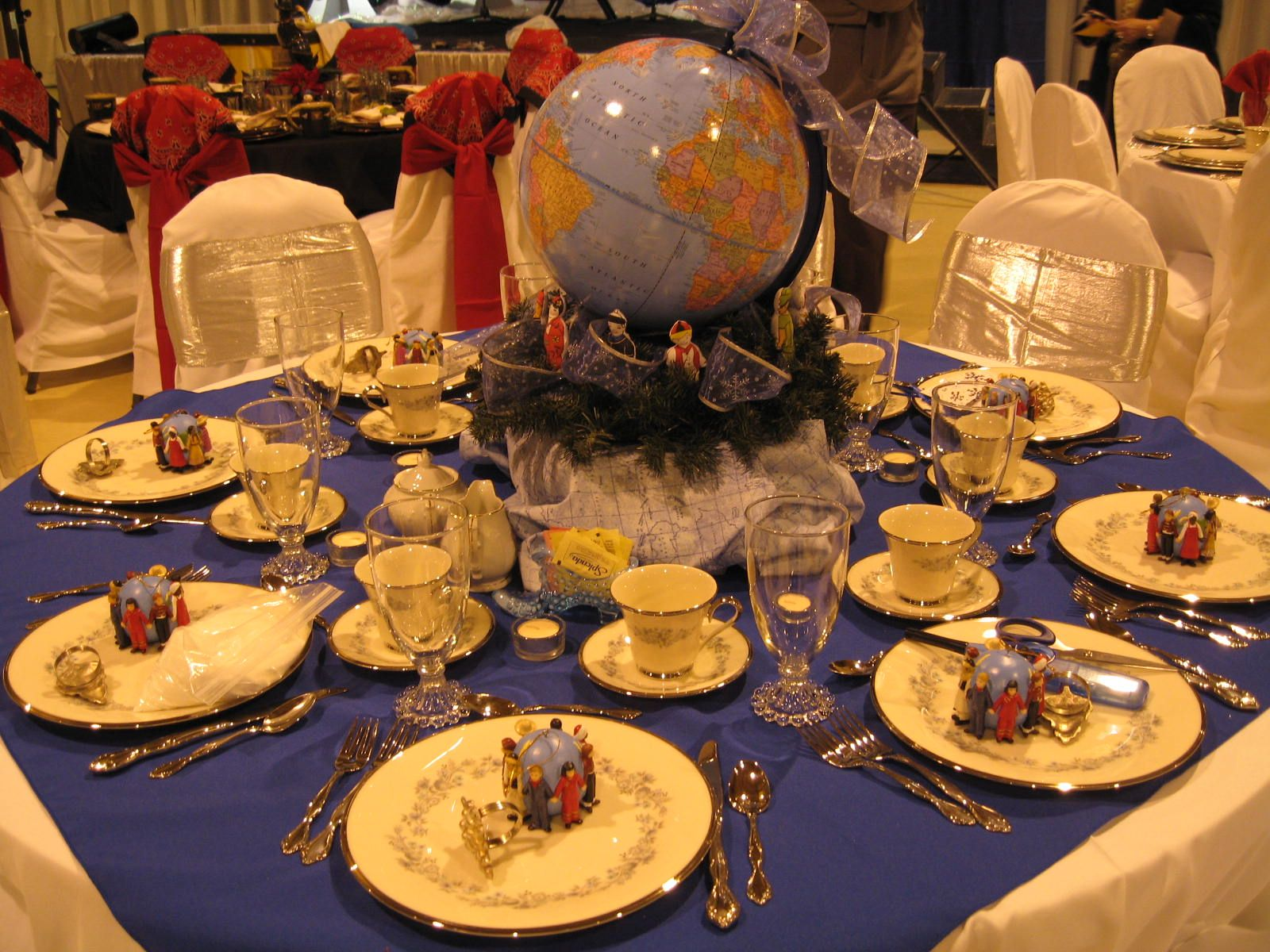 """2007 Christmas Tea tablescape by Sherry Hall. """"Missions"""