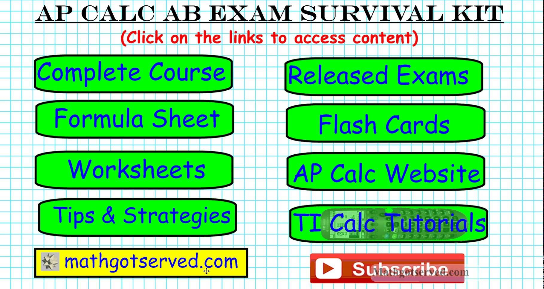 Ap Calculus Study Survival Kit Formula Worksheets Tips