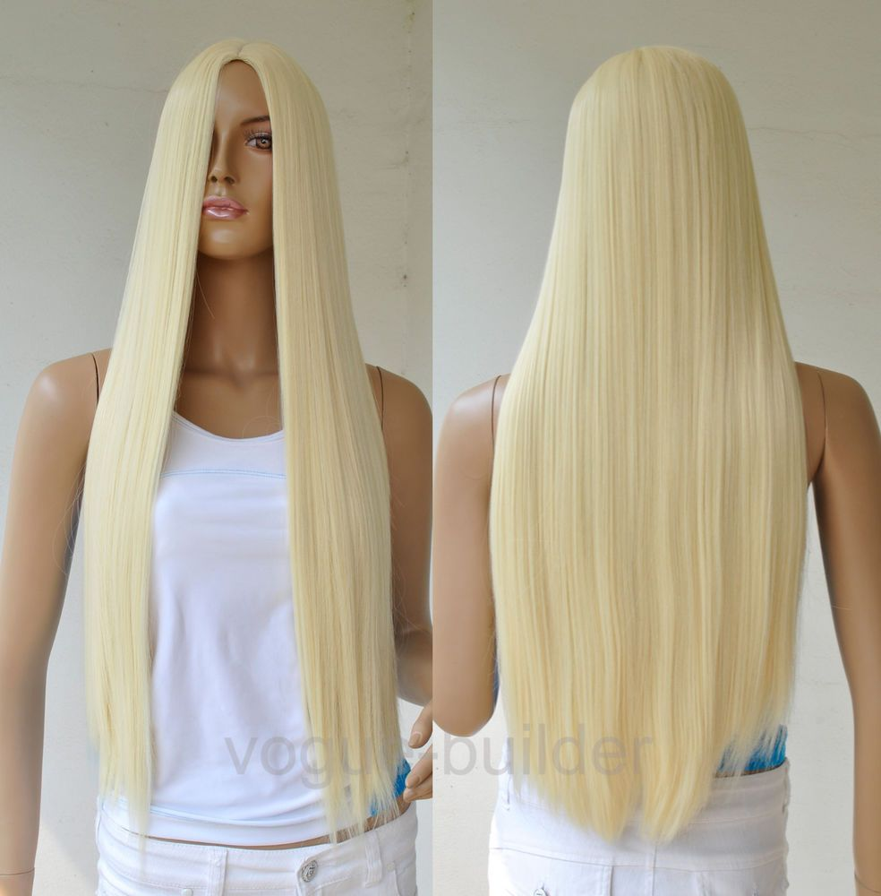28'' Long Blonde Straight Cosplay Party Hair Wig 613# #FullWig