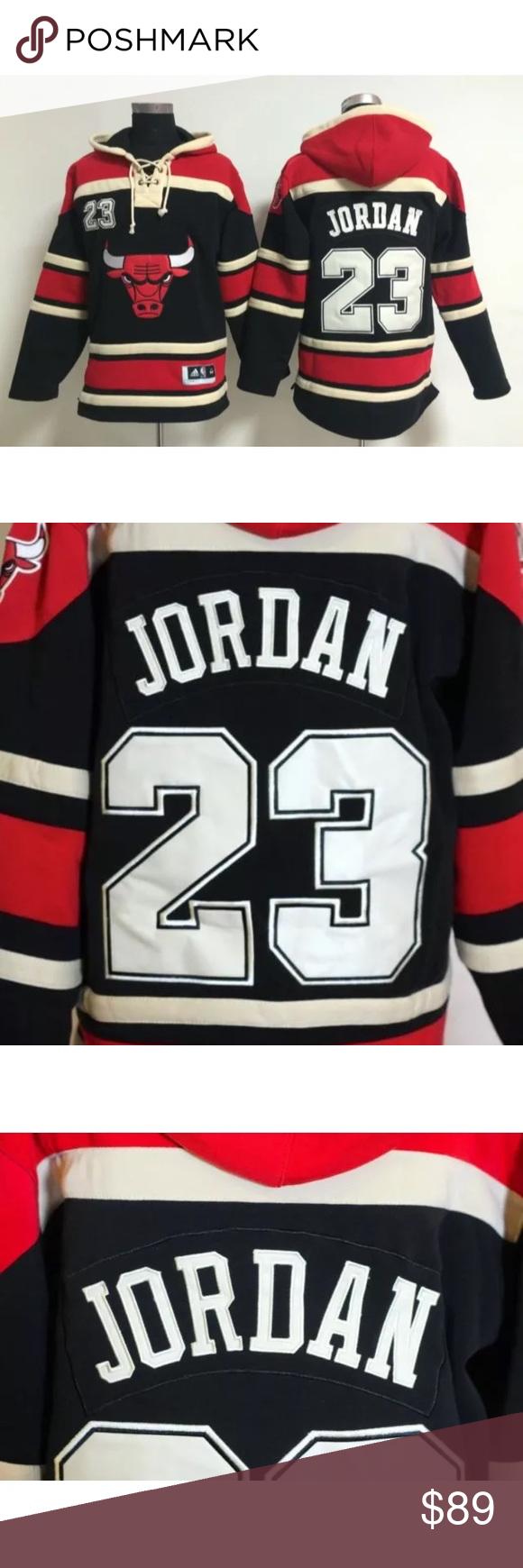 68972a8d Jordan Bulls Limited edition Hockey style Hoodie LIMITED EDITION NWOT  Michael Jordan Chicago Bulls Hockey style laced Hoodie. Fleece interior  lining.
