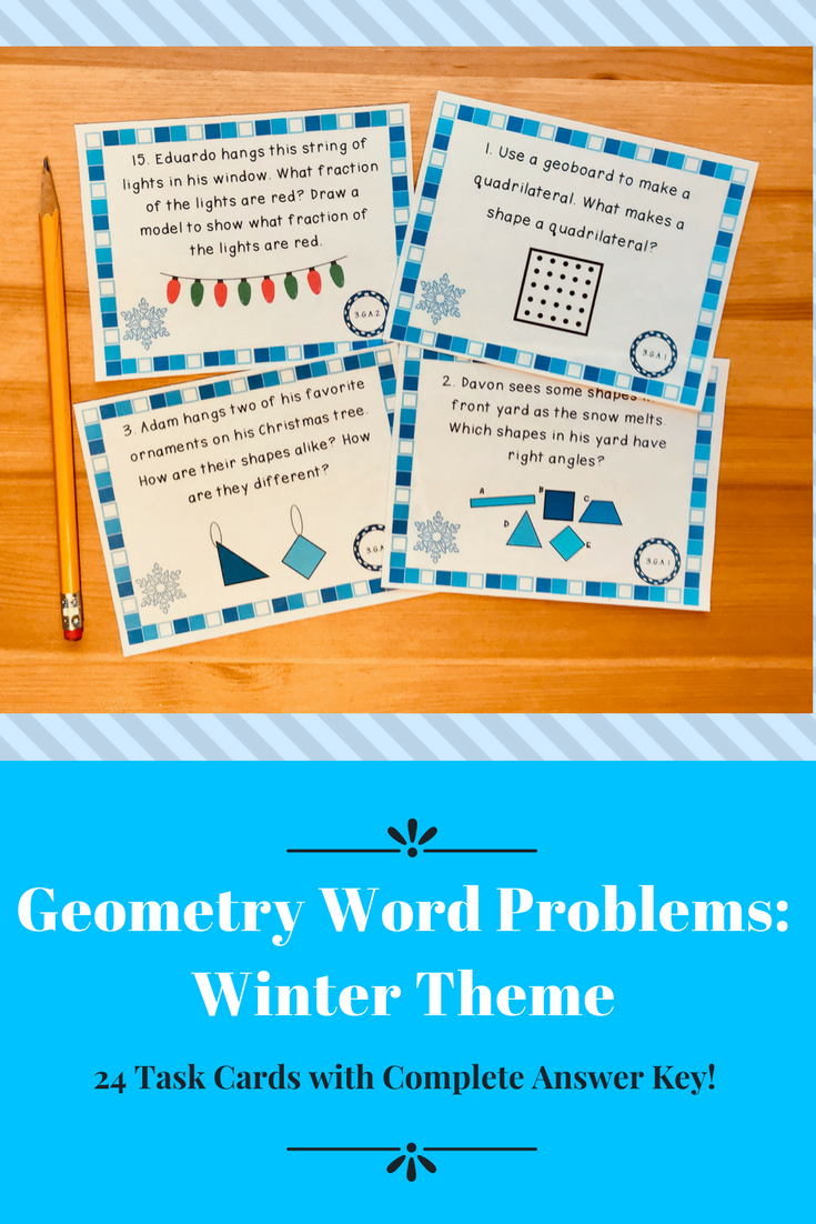 Geometry Word Problems: Winter Theme (Quadrilaterals and ...