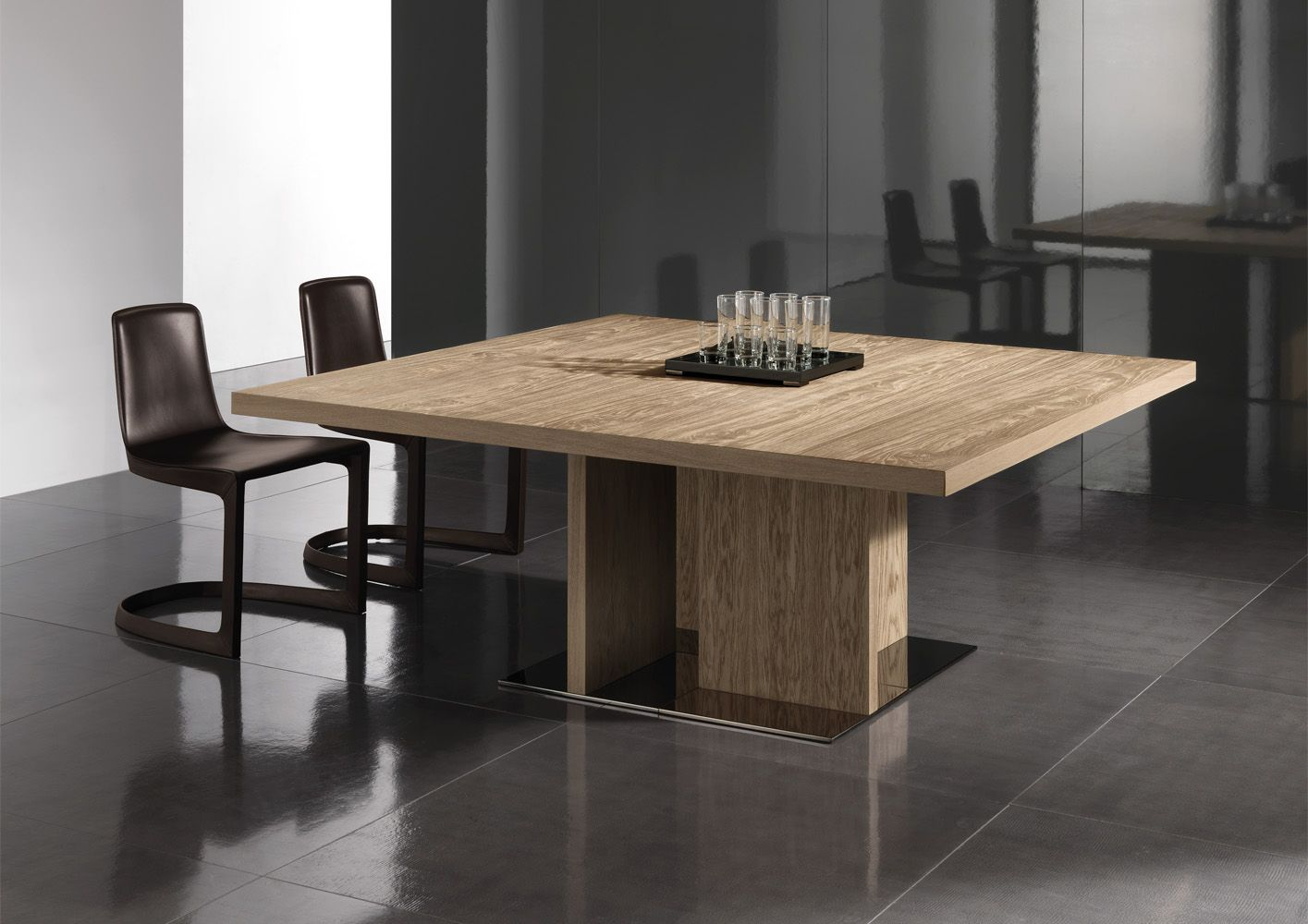 Dining Room, : Beautiful Dining Room Decoration Using Square Oak Wood  Minotti Dining Table Along With Dark Brown Pedestal Dining Chair And Grey  Ceramic Home