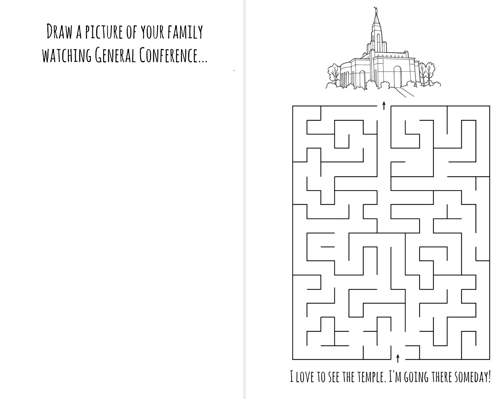 temple maze  general conference pictures to draw