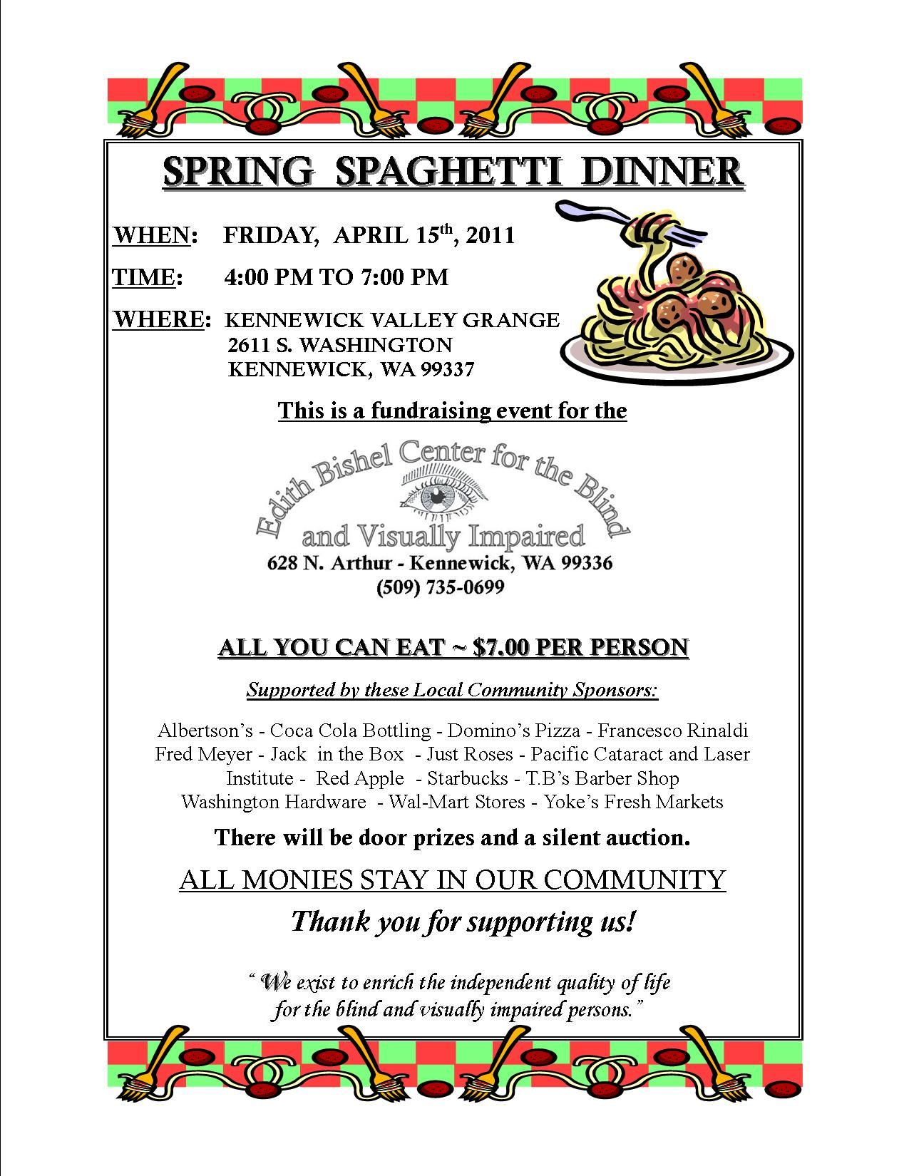 Dinner Fundraiser April   Spring Spaghetti Dinner Fundraiser