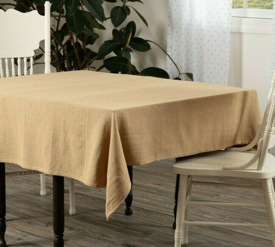 Farmhouse 60 Inch Square Natural Tan Burlap Table Topper Tablecloth Cotton Country Farmhouse Table Top Decor Table Cloth Table Toppers