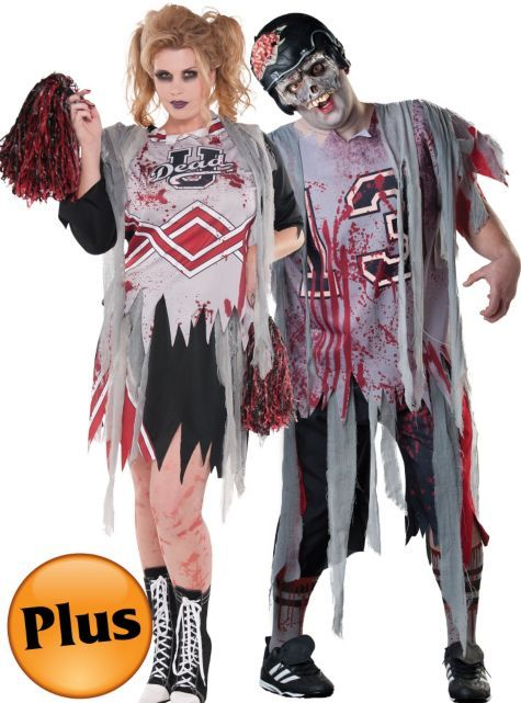 97a4e0cb765 Plus Size Zombie Cheerleader and Football Zombie Couples Costumes ...