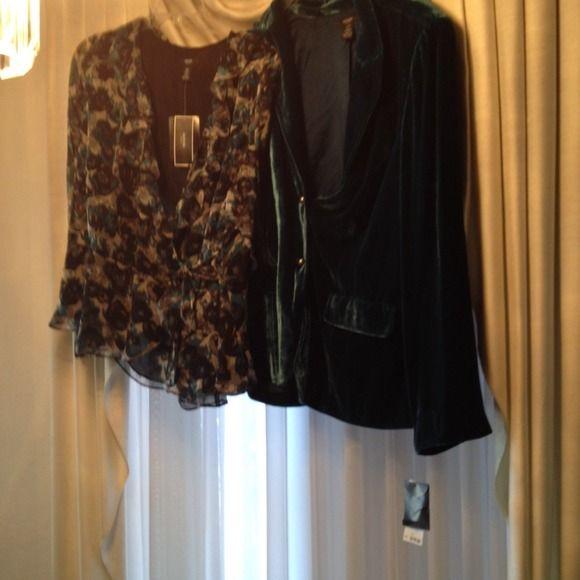 """Velvet Jacket and blouse """" Just Reduced """" Beautiful turquoise jacket with matching blouse Alfani Jackets & Coats"""