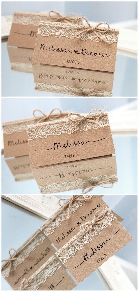 Marque place pour mariage champêtre papier kraft, marque place table mariage dentelle champêtre vintage, rustique marque place dentelle chic