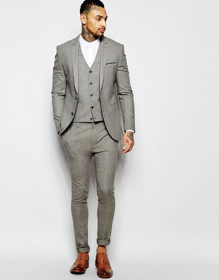 Image 1 of ASOS Super Skinny Suit Jacket In Brown Dogstooth | The ...